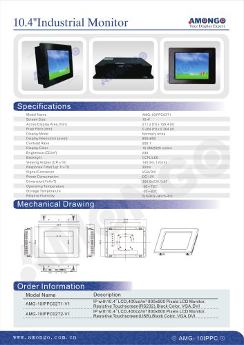 """AMONGO 10.4"""" 800x600 Pixels Resistive Touchscreen 230nits(Industrial Touch Monitor)AMG-10IPPC03T1"""