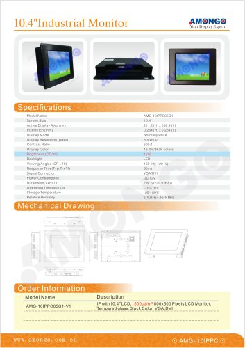 AMONGO 10.4' Sunlight readable/tempered glass(indusrtial monitor)10IPPC05G1-V1