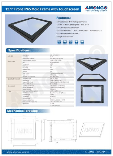 """Amongo 12.1"""" Front IP65 Mold Frame with Touchscreen"""