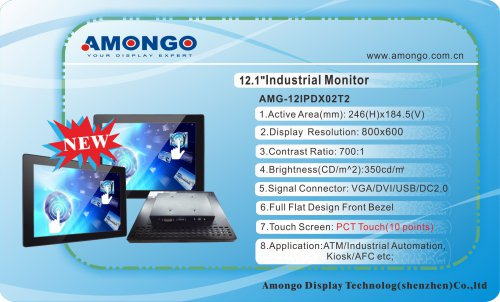 Amongo 12.1inch industrial lcd monitor (pct touch 10 points)AMG-12IPDX02T2