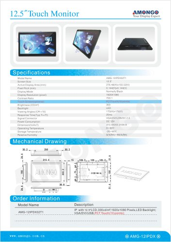 """Amongo 12.5"""" PCT Touch 10 Points industrial lcd monitor for Financial equipment (AMG-12IPDX02T1)"""