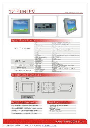 Amongo 15'' Fanless wide touch screen industrial panel pc