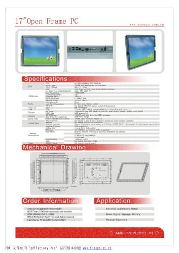 Amongo 15'' Open Frame Fanless touch screen industrial panel pc