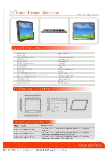 Amongo 15'' Open frame touch screen industrial LCD Monitor/ lcd display/ industrial lcd monitor