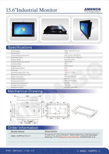 """AMONGO 15"""" Resistive Touchscreen 1920x1080 Pixels LED Backlight (Industrial Touch Monitor)AMG-15IPPC01T4-V1"""