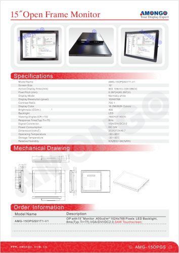"""AMONGO 15"""" SAW Touch Screen LED Backlight(Open Frame Touch Monitor)AMG-15OPGS01T1-V1"""