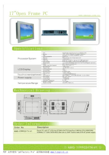 Amongo 17'' Fanless wide touch screen industrial panel pc
