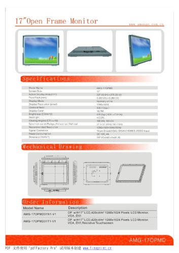 Amongo 17'' Open frame touch screen industrial LCD Monitor/lcd display/ industrial lcd display