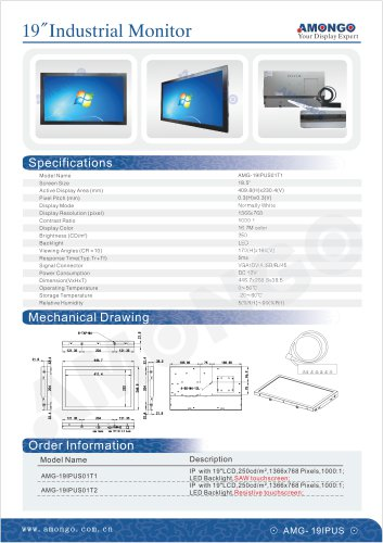 """AMONGO 18.5"""" Industrial lcd monitor with touch screen(AMG-19IPUS01T1)"""