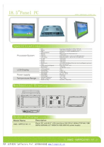 Amongo 18.5'' Open Frame Fanless touch screen industrial panel pc