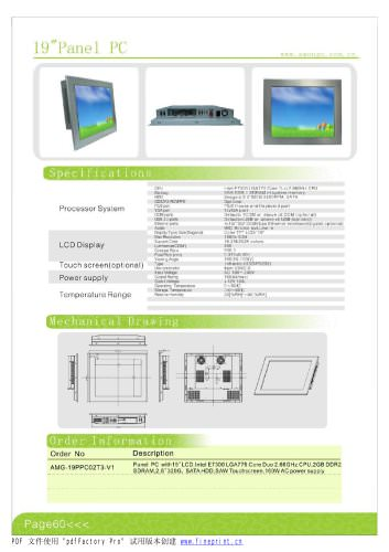 Amongo 19'' Fanless wide touch screen industrial panel pc