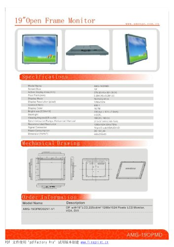 Amongo 19'' Open frame touch screen industrial LCD Monitor/lcd display/ industrial lcd display