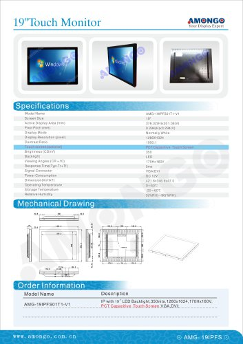 """AMONGO 19"""" PCT Capacitive Touchscreen 1280x1024(Industrial Touch Monitor)AMG-19IPFS01T1-V1"""