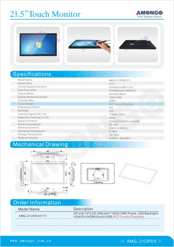 """AMONGO 21.5"""" 1920x1080 Pixel PCT Touch(10 poinits) 250nits(Touch Monitor)AMG-21OPDX01T1"""