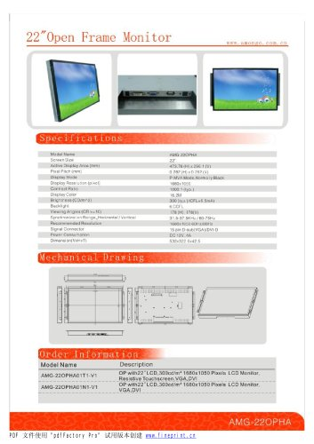 Amongo 22''Open Frame touch screen industrial lcd monitor