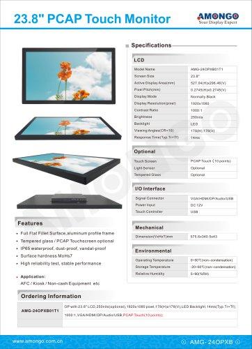 Amongo 23.8inch PCAP Touchscreen Monitor, Surface IP waterproof, dust-proof, vandal-proof