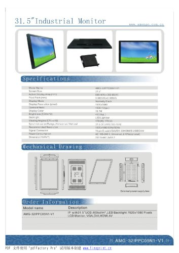 Amongo 32''Industrial LCD Touch Screen Monitor with Multi touch Screen panel/AMG-32IPPC05N1-V1