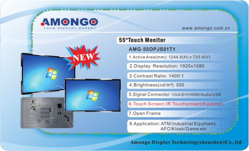 """Amongo 55"""" IR Touch Screen Monitor , Open Fame NEW(AMG-55OPJS01T1)"""