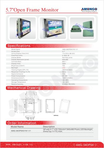 AMONGO 5.7-inch Sunlight readable Luminance 700nits(Open Frame Monitor)AMG-06OPSK01N1-V1