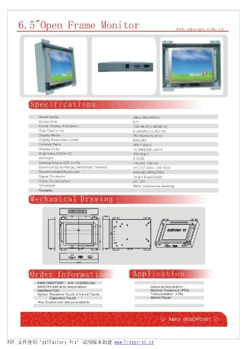 Amongo 6.5'' Open frame LCD Monitor/ LCD display/ touch screen industrial lcd monitor/AMG-06OPMD