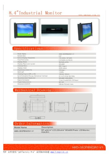 Amongo 8.4'' industrial LCD Monitor with touch screen panel