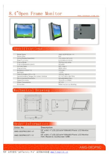 Amongo 8.4'' Open frame LCD Monitor/ LCD display/ touch screen industrial lcd monitor/AMG-08OPMD