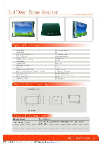 Amongo 8.4'' Open frame touch screen industrial LCD Monitor/AMG-08OPMD