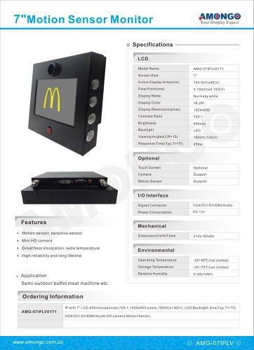 AMONGO Motion sensor LCD monitor, 7-inch HD camera for semi outdoor buffet meal machine