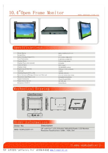 Amongo Open frame touch screen industrial LCD Monitor/AMG-10OPMD