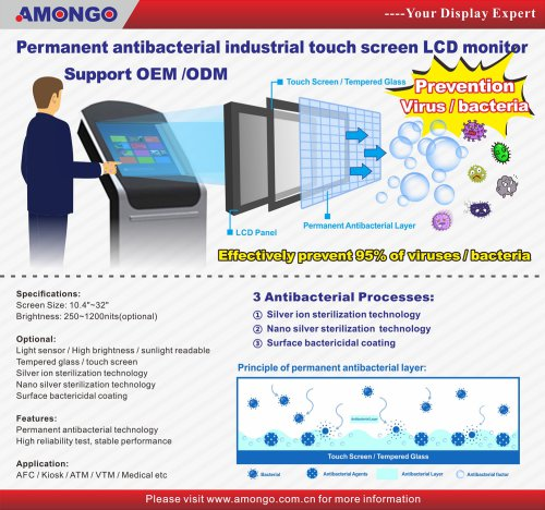 Amongo permanent antibacterial industrial touch screen LCD monitor