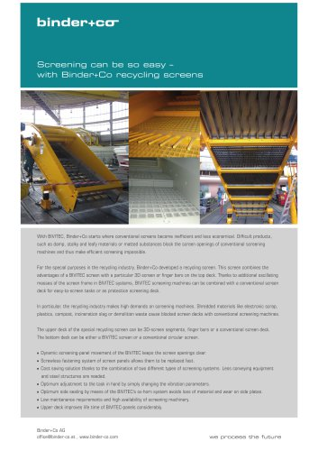 Binder-Co Recycling screen