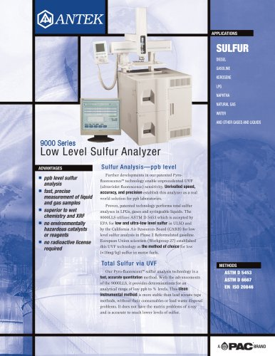 9000LLS - LOW LEVEL SULFUR ANALYZER