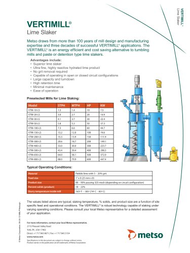 VERTIMILL® Lime Slaker Technical Sheet and Questionnaire