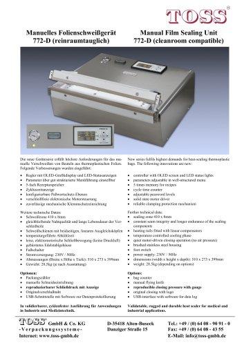 Manual Film Sealing Unit 772-D (cleanroom compatible)
