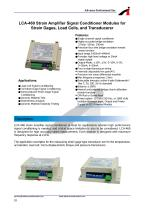 LCA-460 Strain Ampli er Signal Conditioner Modules forStrain Gages, Load Cells, and Transducersr