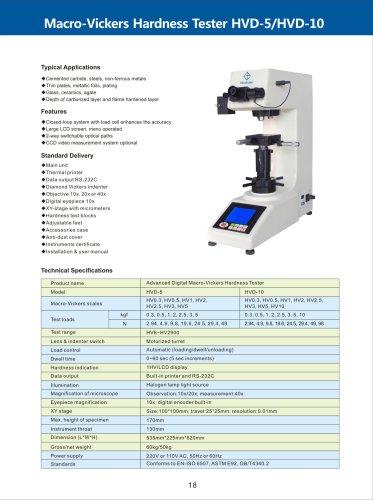 Advanced Macro-Vickers Hardness Tester HVD-5/10