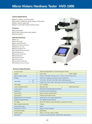 Advanced Micro-Vickers Hardness Tester HVD-1000