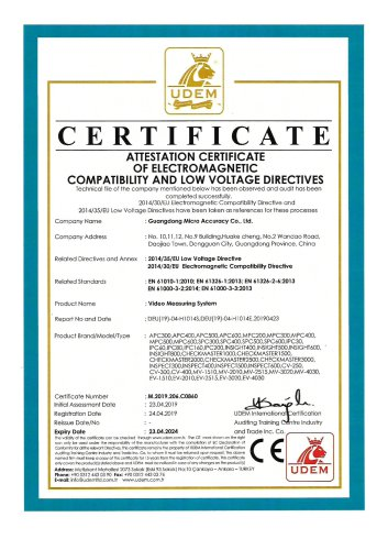CE certificate video measuring systems