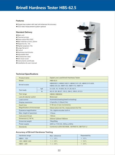 Digital Low Load Brinell Hardness Tester HBS-62.5