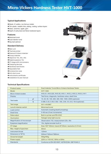 Dual Indenter Turret Micro-Vickers Hardness Tester HVT-1000