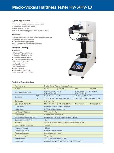 Macro-Vickers Hardness Tester HV-5/10 series