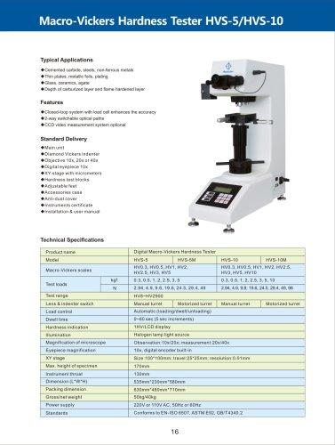 Macro-Vickers Hardness Tester HVS-5/10 series