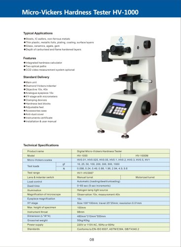 Micro-Vickers Hardness Tester HV-1000