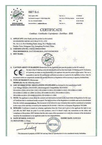 Microscope CE certificate