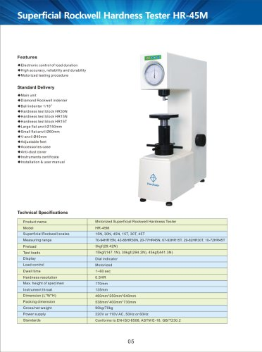 Motorized Superficial Rockwell Hardness Tester HR-45M