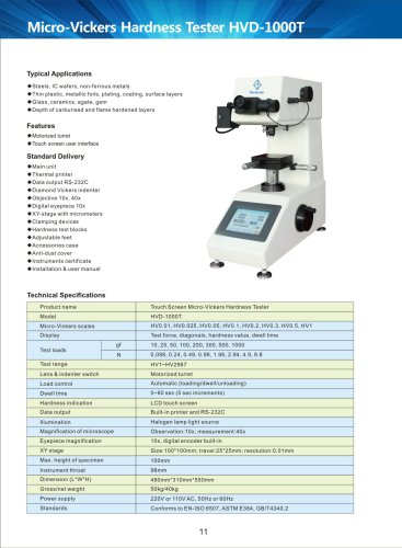 Touch Screen Micro-Vickers Hardness Tester HVD-1000T