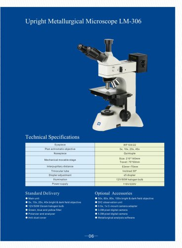 Upright Metallurgical Microscope LM-306 for bright and dark field observation